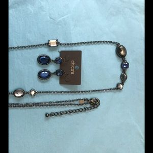 Chico's Pewter and Blue Stone Necklace & Earrings